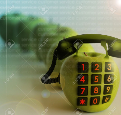 7536342-conceptual-photo-of-a-phone-made-of-an-apple-representing-customer-service